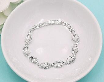 Rhinestone Marquise Bridal bracelet, wedding bracelet, rhinestone crystal bracelet, crystal bracelet, bridesmaid bracelet 512406945