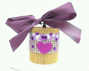 Hand Made Gift Box Trinket box.Woven Bambo Tub + Lid Decorated Storage jar glass Gem Purple Ribbon. Christmas gift Box. Fits 1 big bath bomb