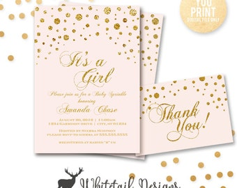 Pink and Gold Baby Shower Invitation, Pink Baby Sprinkle Invite, Pink and Gold BABY Shower Invite, Personalized Printable, DIY DIGITAL