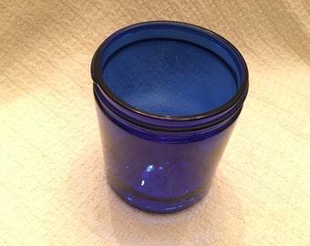 Cobalt Blue Glass Jar, Maryland Glass Corp, M in Circle on Bottom, Large Cobalt Blue Glass Jar