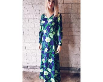 SALE | Vintage 1970s Purple Navy Kelly Green Floral Maxi Kaftan Style Dress Size Small