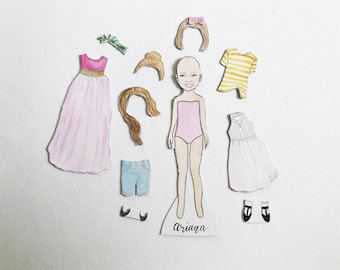 Custom Paper Dolls | magnetic watercolor portrait
