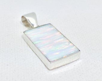 Opal Pendant // White Opal Pendant // Rainbow Opal Pendant // 925 Sterling Silver // Rectangle Shape // Small Size // Opal Jewelry