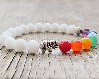 White elephant gift for girls Seven chakra bracelet 7 chakra bracelet Elephant bracelet Animal jewellery Healing bracelet lgbt gift bracelet