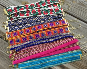 Mix and Match - Two embroidered chokers - Only 10 each