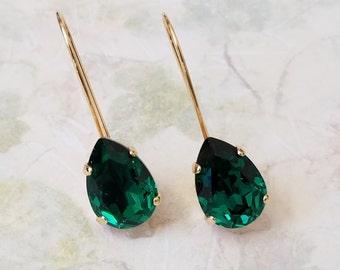 Emerald Teardrop Earrings, Bridesmaids Jewelry Gift, Emerald Green Crystal Earrings, Crystal Rhinestone Earrings, Swarovski Drop Earrings