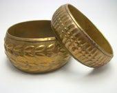 Indian Brass Bangle Bracelet Set - Vintage 70s 80s Gypsy Boho Jewelry