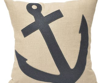 16x16 Navy angled anchor wool on linen pillow, home decor, beach house, nautical, anchor, coastal, kids room, throw pillow,The Salty Cottage