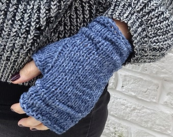 Denim-blue rustic linen and cotton hand-knitted fingerless gloves - ready to ship - FREE DELIVERY