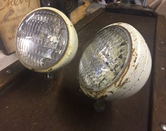 Tractor Lamp Pair GE Glass