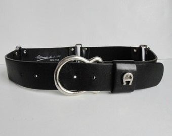Black Etienne Aigner Vintage Leather Belt With Silver Buckle // Hand Made