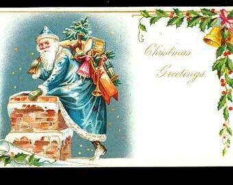 Blue Coat Santa Claus Tucks with Bag 1906 Postcard