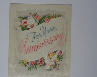 Vintage Greeting Card - For Your Anniversary - Wedding Anniversary Card - Flowers and Doves - Never Used