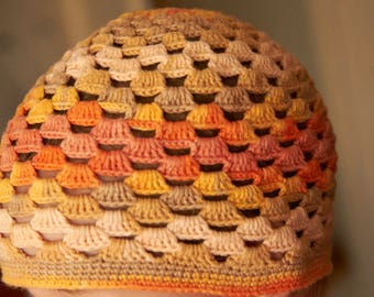 Autumn Colored Crochet Hat for a Baby Girl (9-12mo)