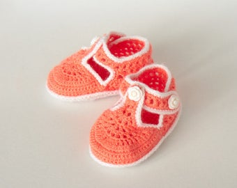 Orange Handmade Crochet Baby Girl Booties (9-12 mo)
