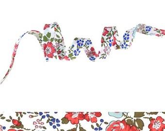 Felicity Corail Liberty bias binding 1x Yard - 10mm wide, Liberty cotton fabric tape, sewing supplies, jewellery making materials