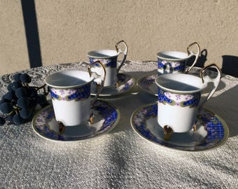 Vintage Tea Cup And Saucer Set 8 Piece Fine China Coffee Espresso Cup Set 1960's Christmas Gift Idea