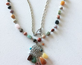 """30"""" gemstone sunflower necklace"""