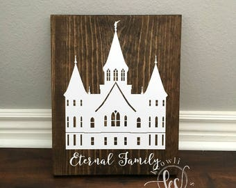 Provo City Center Temple wood sign, Ready to Ship, 9.25x11.5