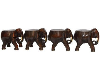 Set of Four Elephant Stools or Drink Tables