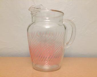 15% SALE *** Large Pink Swirl Motif Glass Pitcher by Hazel Atlas