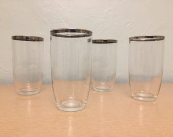 Four Rounded 16 oz High Ball Glasses / Tumblers with Silver Rims