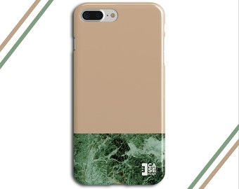 Hazelnut x Green Marble Two Toned Phone Case, iPhone 7, iPhone 7 Plus, Protective iPhone Case, Galaxy s8, Samsung Galaxy Case, CASE ESCAPE