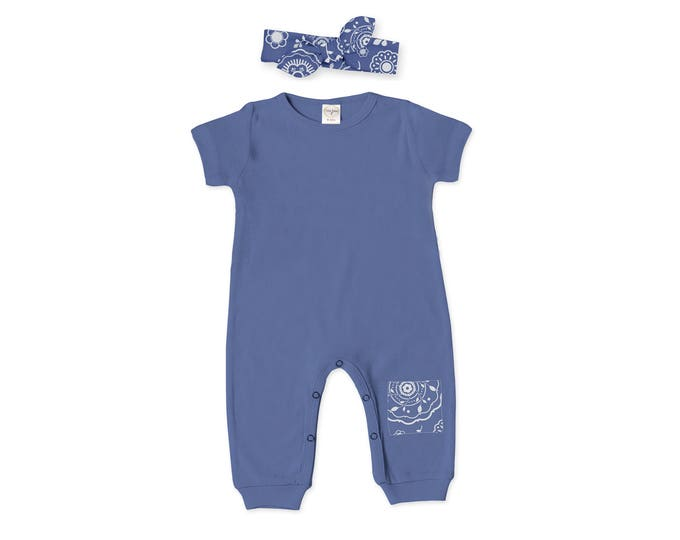 Newborn Girl Outfit, Newborn Girl Coming Home Outfit, Take Home Romper, Baby Girl Blue Romper & Headband, Knee Patch, Tesababe RH860IO003000