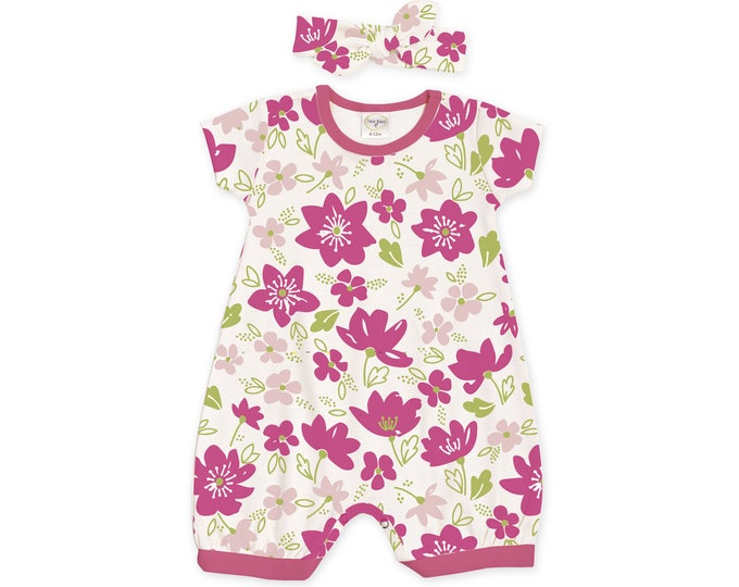 Baby Girl Outfit, Newborn Girl Romper, Baby Summer Outfit, Baby Girl Bubble Romper, Pink Floral Romper & Headband, Tesababe RH520FMFU0000