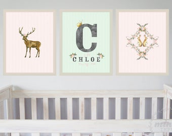 Girls Watercolour Nursery Print Set of 3 / Rabbit Deer Birth Stats Name Print Wall Art Prints Personalised Baby Gift / Pink Mint Green Grey
