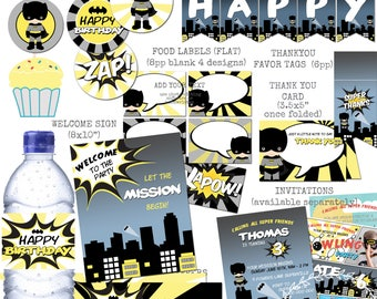 Batman Boys Party Printable Bundle Superhero Theme Party / 8 Non-Personalised Package Cupcake Food Drink Thank You Tag Welcome Sign Banner