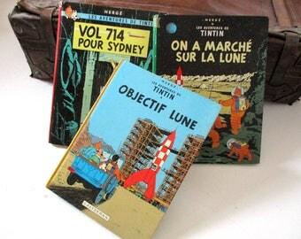 Tintin Books, Vintage Tintin, French Editions, Hergé Les Aventures De Tintin, Vol 714 Pour Sydney, On a Marché Sur La Lune, Objectif Lune