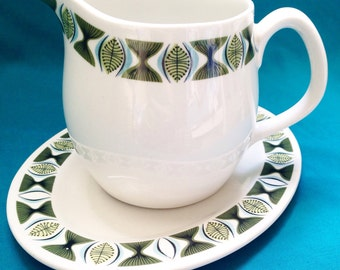 Ridgeway Steelite gravy/milk jug and saucer with atomic design