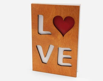 Romantic Cards, Wood Card, Gift For Girlfriend, Love Card, Wood Work, Valentine's Day Card, Gift For Boyfriend, Greeting Card, Romantic Gift