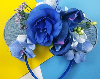 Blue Floral and Denim ears