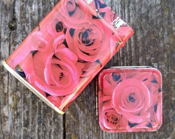 vintage small tin box tea box metal container home decor kitchen decor red pink roses floral design
