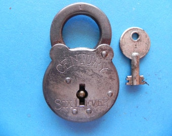 "Antique ""CENTURY Six Lever"" Padlock W/ Key."
