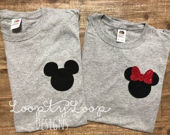 Family Vacation Shirts Monogrammed Mouse Ears and Bow