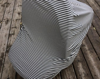 Stretchy Car Seat Cover/Canopy - Gender Neutral Grey & White Stripes- Also functions as Nursing cover