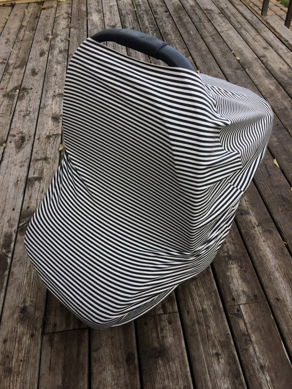 stretchy car seat cover canopy gender neutral grey white. Black Bedroom Furniture Sets. Home Design Ideas