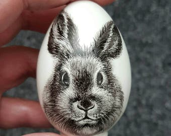 Bunny Rabbit Hare Hand painted porcelain egg