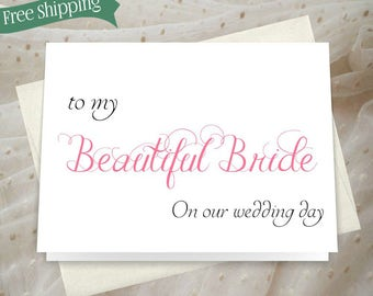 To Bride from groom card choose your own colors perfect card from groom to bride JS01
