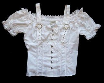 Vintage White Blouse Top Short Sleeve Dirndl Size 44