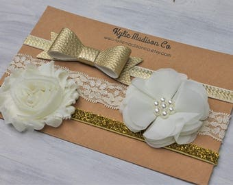 ivory and gold headband set