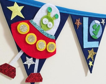 Sparkly space theme bunting decoration