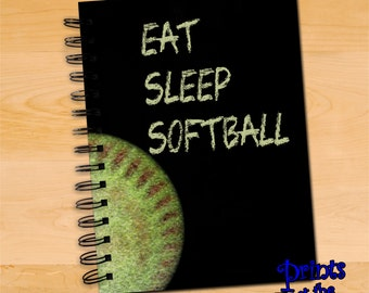 Softball Notebook/Softball Spiral Journal/Eat Sleep Softball Chalkboard Style Diary Notebook/Softball Player/Coach Writing Journal Gift