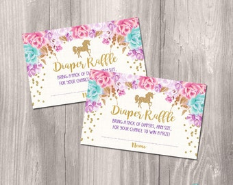 INSTANT DOWNLOAD - Diaper raffle cards, unicorn diaper raffle ticket, gold unicorn baby shower, Printable diaper raffle