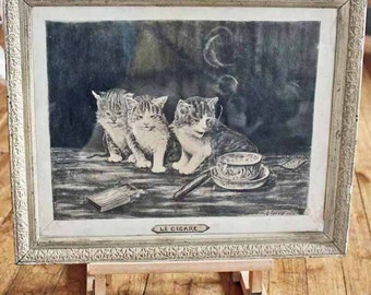 Antique drawing Dessin Cats kittens Signed 1912 / Antique fine art French pencil drawing 'Le cigare' / charcole Sketch wooden frame
