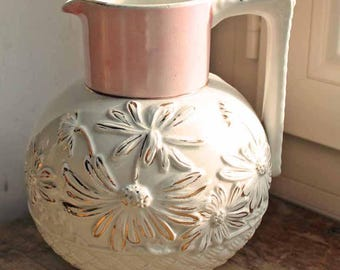 Antique Ironstone creamware pitcher /Vintage water jag with relief of flowers / Flower embossed and Lusterware pitcher /Vintage Vase