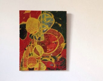 1960s abstract painting on canvas, mid century art, unframed vintage picture